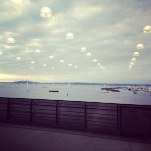 Out the window at a job on Pier 9 - disregard the weird UFOs, they are just reflections.